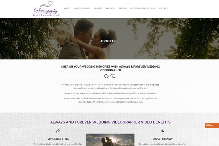 wedding videographer web design