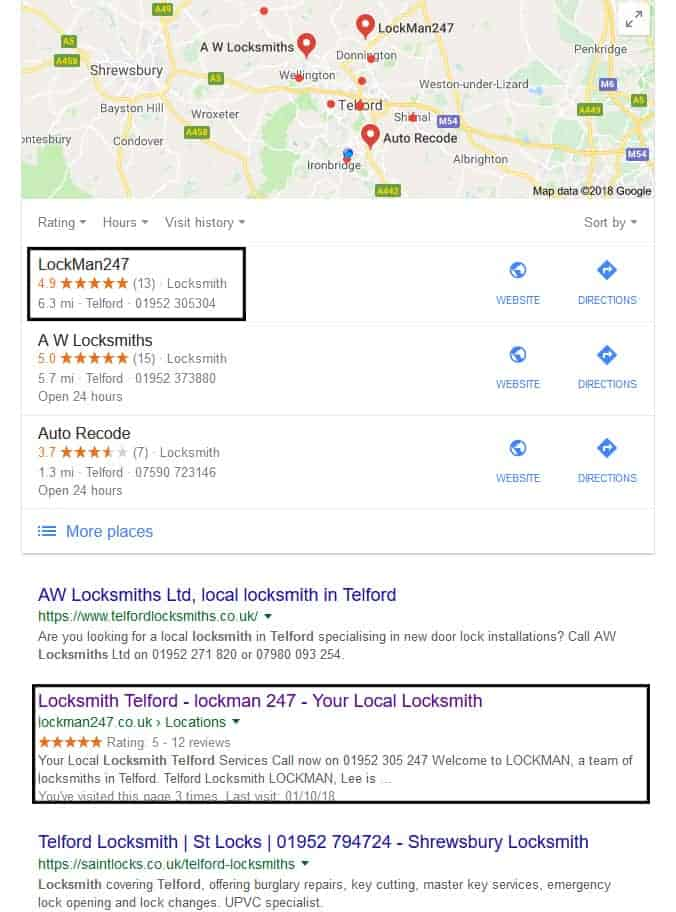 SEO packages Telford results