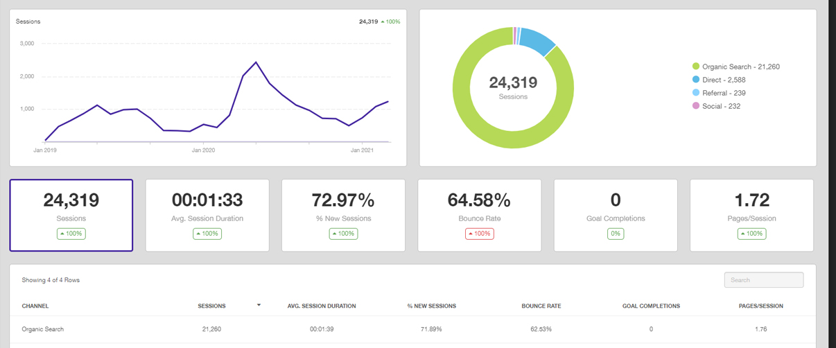 SEO dashboard visitor information