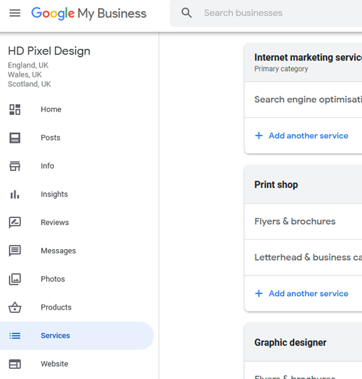 google services tab