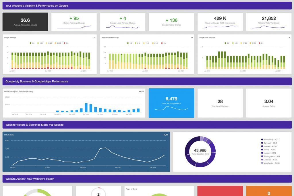 SEO dashboard features